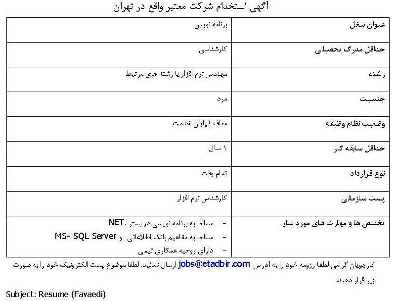 دانلود برنامه ساختن کارت پایان خدمت استخدام مهندس نرم افزار/رشته های مرتبط در تهران -